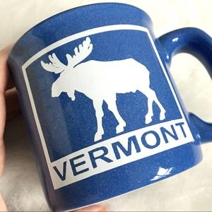 Vermont Speckled Moose Coffee Mug Cup Blue White